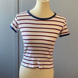 H&M Short sleeve white stripe top